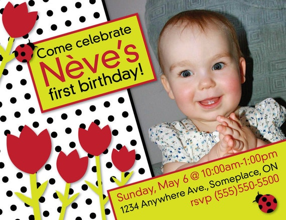 Tulips & Ladybugs printable modern party invitation - with photo - for birthday, shower, etc.
