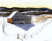 Vermont Barn in Winter Twilight GICLEE PRINT