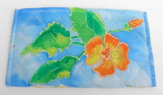 Silk Cosmetic Bag Two Orange Flowers Hand Painted