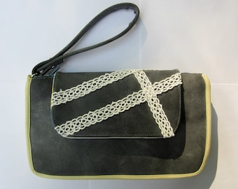 Spring Grey and Plaid Leather and Lace Clutch