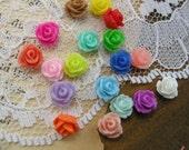 30 Pcs Vintage Style MULTI COLOR Plastic Rose Cabochon set flowers Resin Roses 7.5mm  (M020)