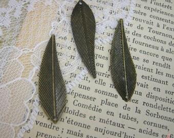 10 Pcs Leaf FeatherCharms Antique Bronze Charm Large Charm Leaves Woodland Charm Branch Vintage Style Pendant Charm Jewelry Supplies (BA132)