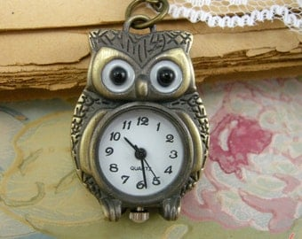 1 pc Vintage Style Owl Pocket Watch Necklace Pendant Chain Included Woodland Antique Bronze (BB018)