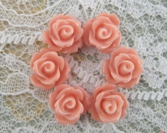 8 Pcs Peach Salmon Small Flower Cabochons Flowers Mini Roses Pink 10mm (M029)