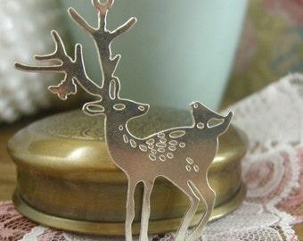 1 Pc Large Deer Pendant Charm Silver Charm Bird Charm Doe Charm Buck Fawn Charm Woodland Vintage Pendant Charm Jewelry Supplies (BC030)
