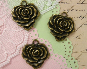 6 Pcs Pretty Rose Charms Antique Bronze flower pendant vintage style Large Roses Floral Ruffle (BB151)