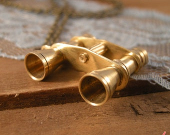 1 pc Vintage Style Binocular Pendant Charm Necklace Nautical Antique BRASS Bronze CHAIN Included (BA040)