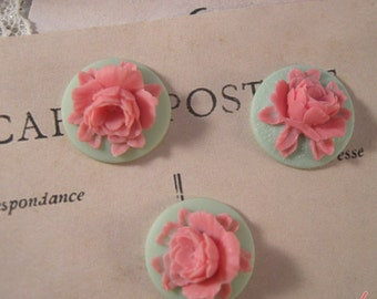 4  Pcs Unique Vintage Pink Coral on Mint Green Base Cameo Cabochons F055