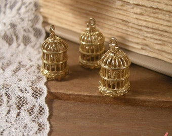 2 Pcs Small SWINGING PERCH Birdcage Charms Antique Gold  Bird Cage Charms Vintage Style Pendant  Charm Jewelry Supplies G061