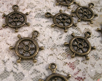 Helm Steering Wheel Charms Antique Bronze Charm Small Nautical Charm Sail Boat Vintage Style Pendant Charm Jewelry Supplies (BA137)