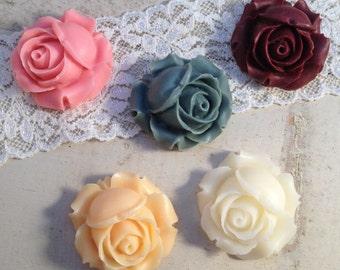 10 Pcs Multi Colored Cabochon Flowers Set Resin Plastic 27mm (K036)