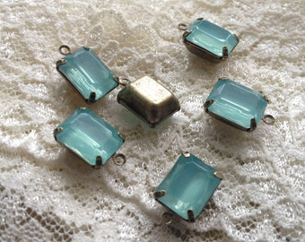 Small Jewel Charm Light Teal Blue Green Drop Gem Jewels Rectangle Blue Green (AW038)