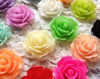 18 Pcs Vintage Style Plastic Rose Cabochon flowers Resin Roses 18x18x8mm