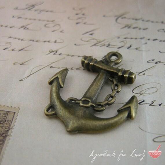 Anchor Charms Antique Bronze Anchor Charm Nautical Charm Sailor Charm Pirate Vintage Style Pendant Charm Jewelry Supplies  (BA131)