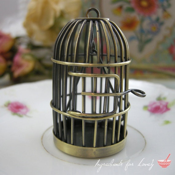1 Pc Large SWINGING PERCH Birdcage Pendant Charm Antique Bronze Charm Whimsical Bird Cage Vintage Style Pendant Jewelry Supplies (BD064)