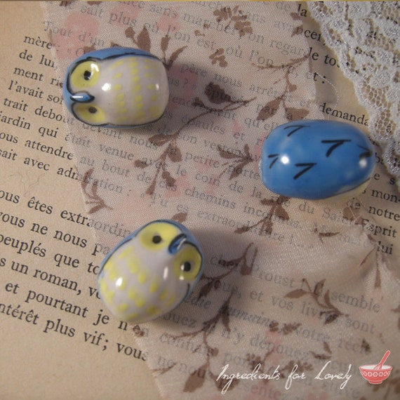 6 - Owl Beads, HAND PAINTED Porcelain in Blue and Yellow, Small Owl, Vintage Jewelry Supplies BC002