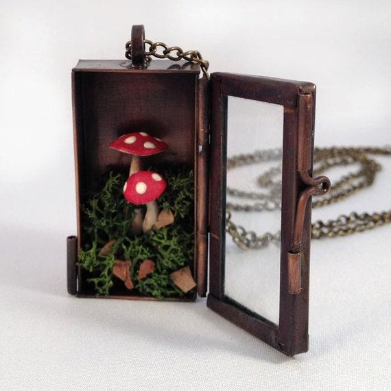 Handmade Red Mushroom Terrarium Shadow Box Necklace Locket Woodland Vintage style Alice In Wonderland Woodsy red mushrooms