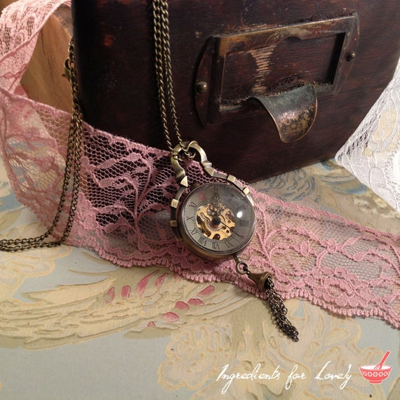 1 pc Vintage Style WIND-UP Gear Round Bubble Pocket Watch Necklace Pendant Chain Included Whimsical  Antique Bronze (BB003)