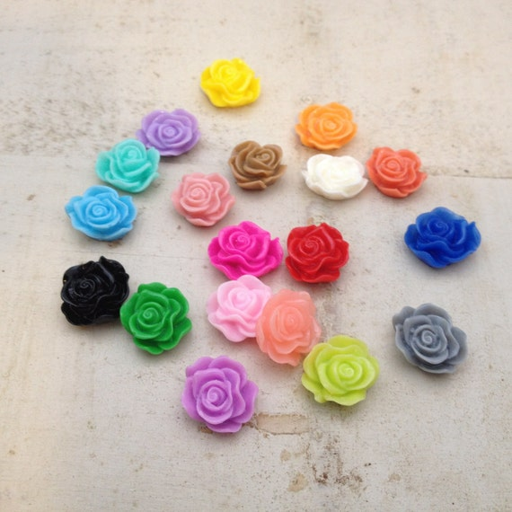 30 pcs multi colored small flower cabochons flowers mini for How to make multi colored flowers