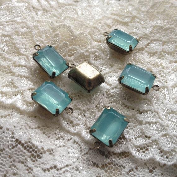 Small Jewel Charm Light Teal Blue Green Drop Gem Jewels Rectangle Blue Green (AW038)