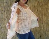 1970's Two Piece Polka Dot Shirt / Size Medium