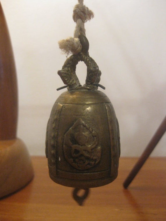 Thai Brass Buddha Temple Bell - Ganesha & Buddha