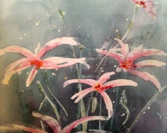 Watercolour  Flower Painting original Abstract grey background