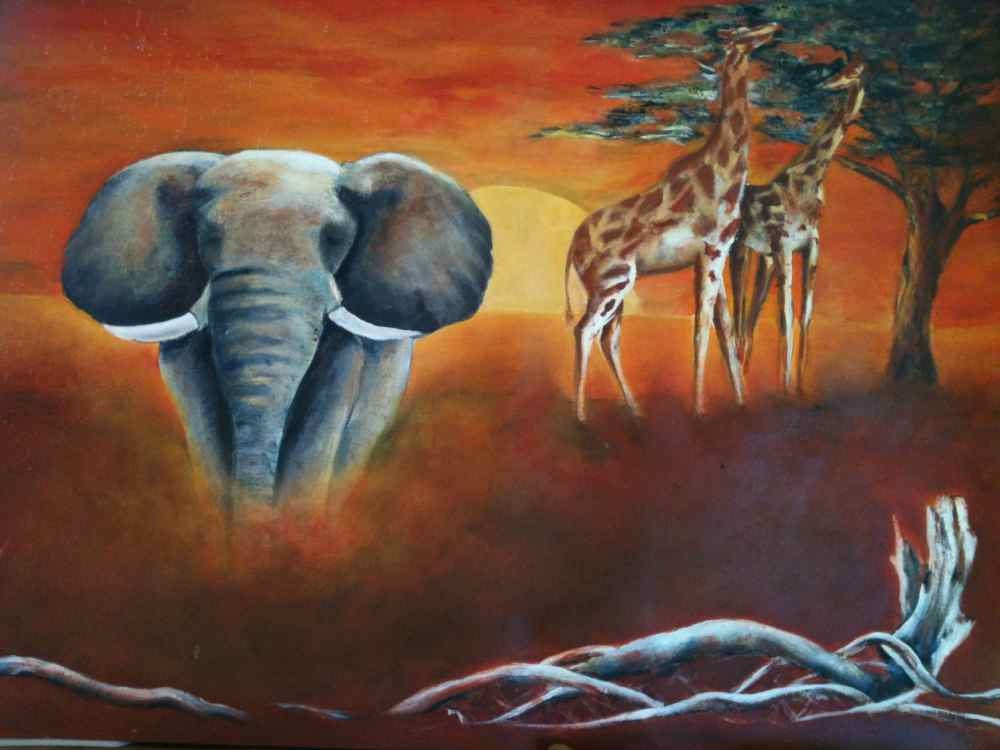 African Sunset Original Acrylic painting