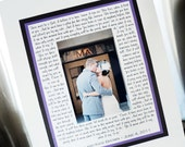 Personalized Wedding Photo Mat to Frame with Your Song Lyrics, Vows, Poem, etc. Great bridal shower gift or parent gift