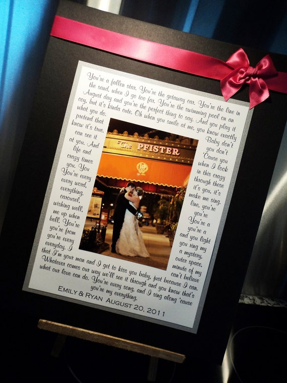 Wedding Gift, Bridal Shower Gift, Personalized Photo Mat with your song lyrics, vows, poem, etc., Wedding Gift for Parents