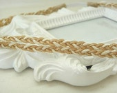 Double Braided Boho Headband: gold and white shimmer