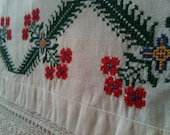 Vintage 1970s Hand Crochet Lace Edged Pillow Case with Needlepoint Cross Stitch