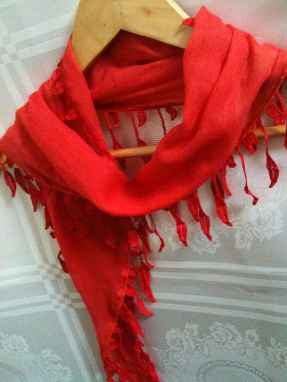 Red Scarf With Wonderful Lace Ends