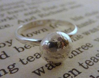 Silver Pebble Ring - Solid Sterling Silver 925 Pebble Stacking Stack Ring Handmade