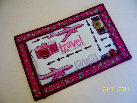 Quilted Fabric Postcard - Handmade Fabric Postcard - Embroidered Fabric Postcard - Patchwork Fabric Postcard - Planes
