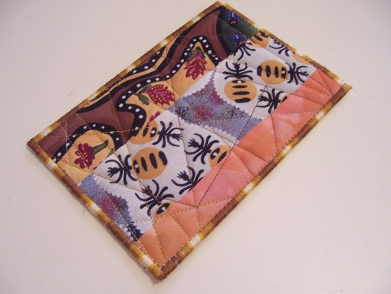 Quilted Fabric Postcard - Aboriginal Fabric Postcard - Australian Fabric Postcard - Patchwork Fabric Postcard - Appliqued Fabric Postcard