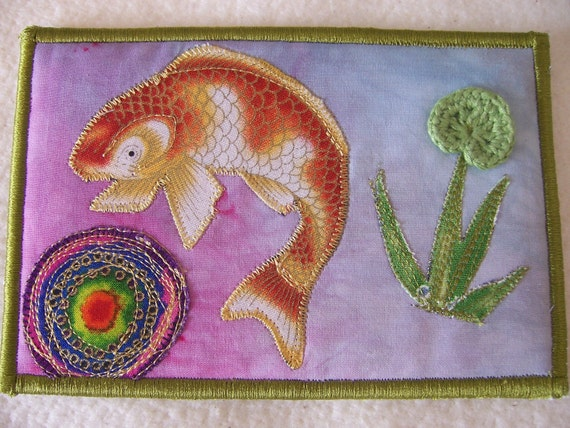 Quilted  Postcard - Handmade  Postcard - Embroidered  Postcard - Patchwork  Postcard - Fish Postcard
