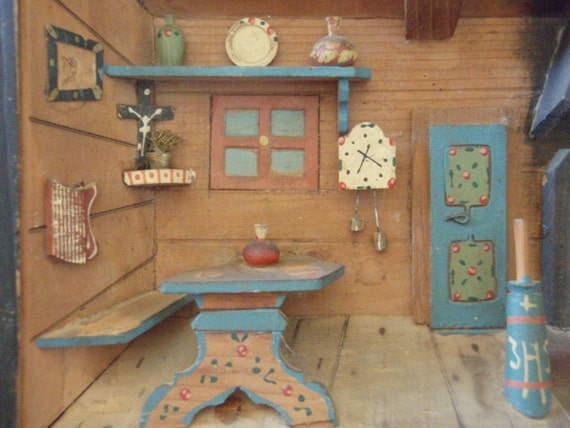 Kitchen Diorama Made Of Cereal Box: Vintage Diorama Shadow Box Kitchen Dining Room Made In