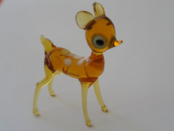 Vintage Glass Faun - Tiny and Amber
