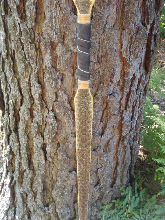 "Snakeskin covered Osage Longbow, 52lb at 28"", wood archery bow, Prairie Rattlesnake over Bamboo and Osage"