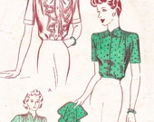 Vintage Sewing Pattern 1930s Blouse and Button On Jabot, Size 12, Bust 30