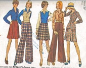 Vintage Sewing Pattern, 1970s Complete Wardrobe- Pants, Skirt, Shirt, Vest,