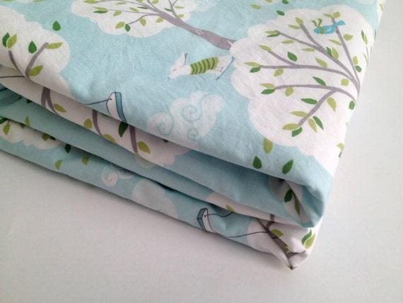 Baby Blanket, Aqua blue trees, backyard baby, Windy Day, white Minky