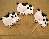 Set of 12 Cow Cupcake Toppers with Little Bows