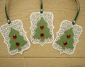 Christmas Gift Tags - Set of 3 Green, White and Red Christmas Trees