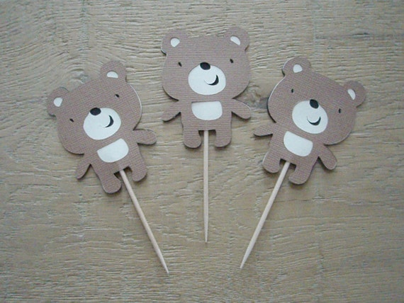 Set of 12 Bear Cupcake Toppers