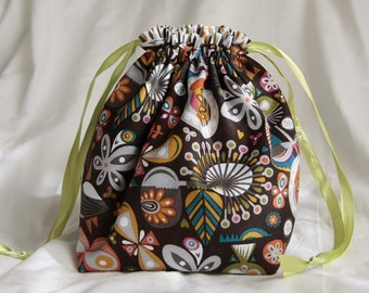 Knitting project bag- Colored Leaves