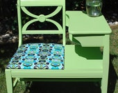 Vintage Gossip Bench (Telephone Table) Painted Kiwi Green  with Reupholstered Seat