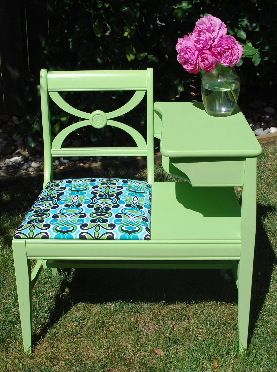 Vintage Gossip Bench Telephone Table Painted Kiwi Green