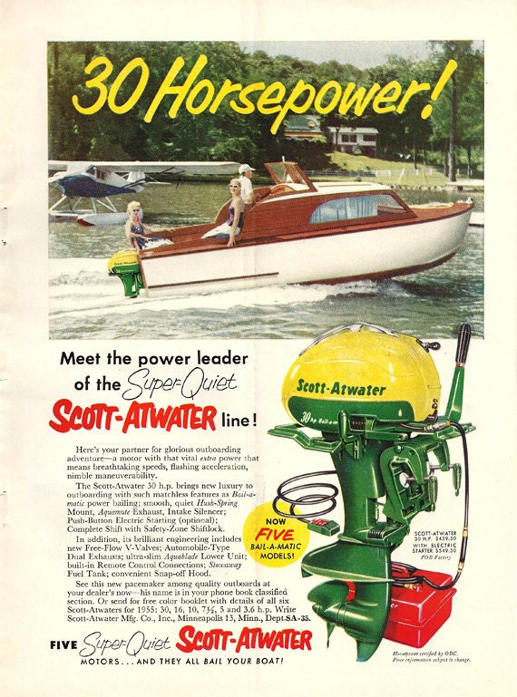 1955 Scott Atwater Outboard Boat Motors Advertisement - full color print ad